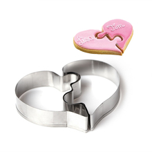 2Pcs Heart Puzzle Cookie Cutter Mould Baking Tool Stainless Steel Biscuits Mold Cake Decorating
