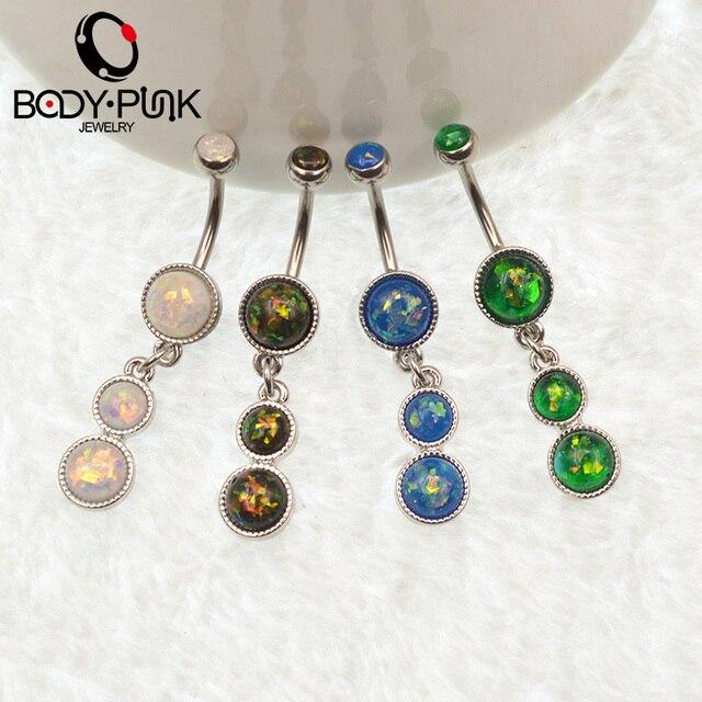 Фото тела панк лето пупка кольца белый/зеленый/синий/темно зеленый