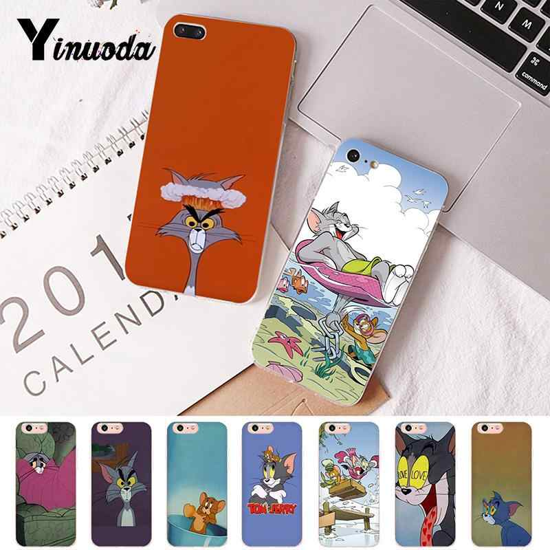 Yinuoda Tom and Jerry Pattern TPU Soft Phone Case for iPhone 8 7 6 6S Plus X XS MAX 5 5S SE XR 10 Cover