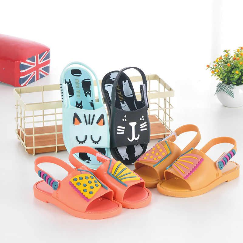 7dbd0da57ef8 2018 детская обувь для девочек летние сандалии для мальчиков детская обувь  мини бабочка кошка принцесса непромокаемая