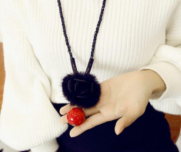 Artesanal de couro borla camélia CC longo colar de acessórios femininos 2015 nova jóias de luxo coreano sautoir collier longo femme