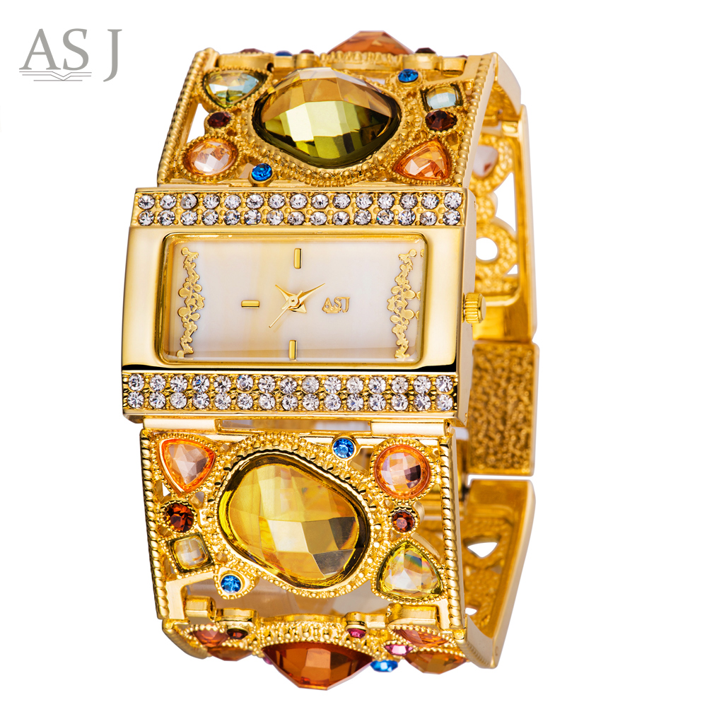 цена ASJ Brand Lady Bracelet Watches Women Luxury Gold Fashion Casual Clock Diamond Dress Quartz Wrist watch Relogio Feminino