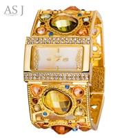2016 ASJ Brand Lady Bracelet Watches Women Luxury Gold Fashion Casual Clock Diamond Dress Quartz Wrist