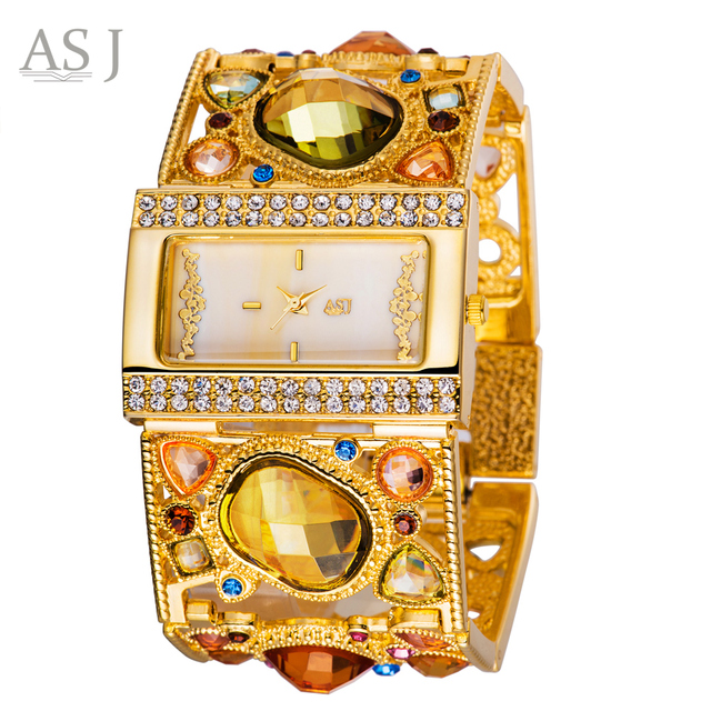 ASJ Brand Lady Bracelet Watches Women Luxury Gold Fashion Casual Clock Diamond D