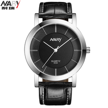 Nary marque en cuir montres hommes Casual Quartz montre hommes horloge noir et blanc cadran