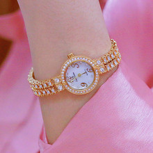 2019 New hot chain four Arabic digital watches rhinestone dial metal strap gold rose female watch Fashion & Casual