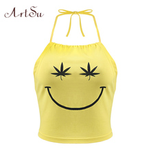 ArtSu Smile Face Cute Crop Top Summer Sexy Backless Beach Halter Tank Top Yellow Sleeveless Off Shoulder Tops Cotton ASVE20184