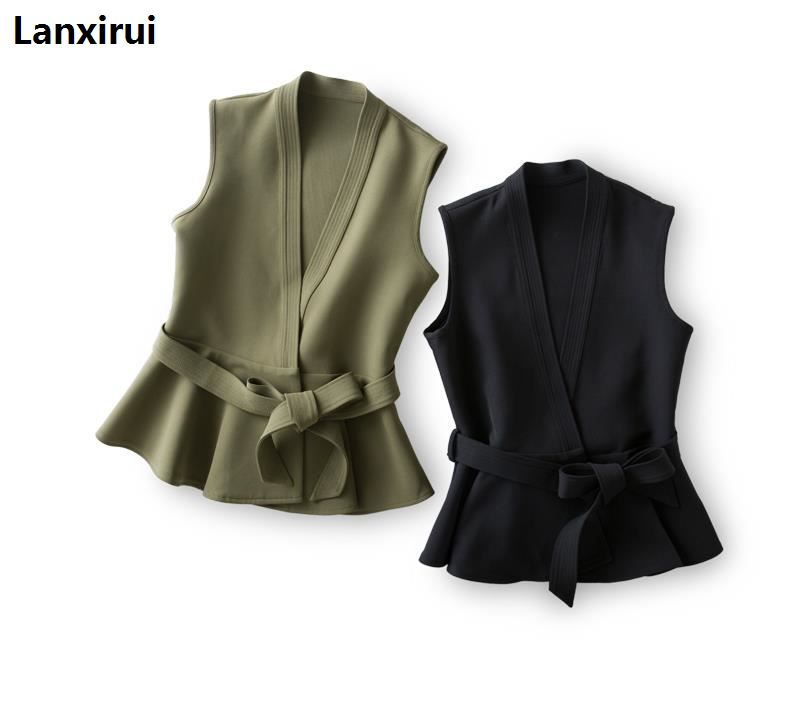 New Spring And Autumn Women's Jacket With Belt Ruffles Vest Waistcoat Women Casual Ol Coat