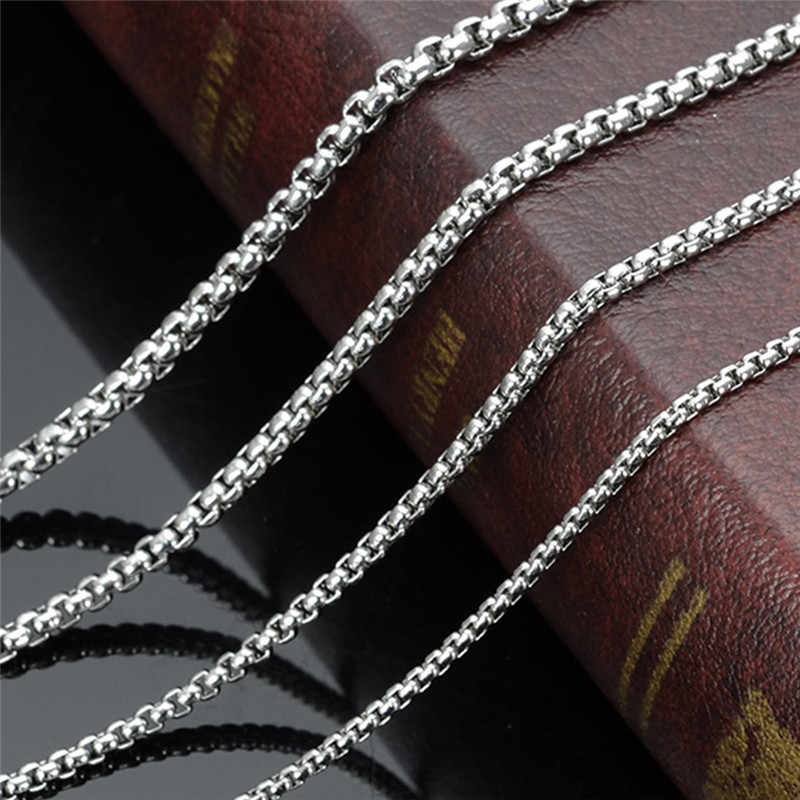 Top Quality Stainless Steel Silver Color 2MM 3MM Square Pearl Chain Necklace Fashion Jewelry For men and women drop shipping
