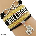 (30 PCS/lot)Infinity Love Bulldogs Bracelets Ancient Silver Bracelets New Year Jewelry Gold Black Suede Leather Bracelets