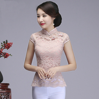 Sexy Vintage Women Lace Flower Shirt Chinese Traditional Improved Mandarin Collar Tang Suit Top Summer Short Sleeve Blouse S XXL