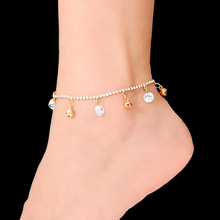 2016 Newest Top Quality Beach Rhinestones Anklets for Women Small Bells Gold and Silver Plated Bracelet on The Leg AK-002