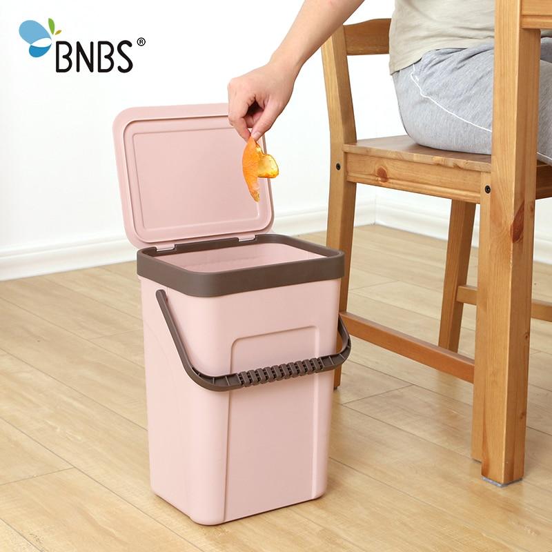 Image 4 - BNBS Trash Can Kitchen Wall Mounted Garbage Bin Gift Garbage Bag  Zero Waste Recycle Compost Bin Trash Bathroom DustbinWaste Bins   -