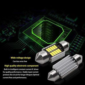 Image 5 - 2 sztuk LED lampy dla samochodów 39mm LED Light 6500K biały SMD sufit kabiny samochodu podwójna końcówka lampka do czytania żarówka dachowa mapa światła kopułowe