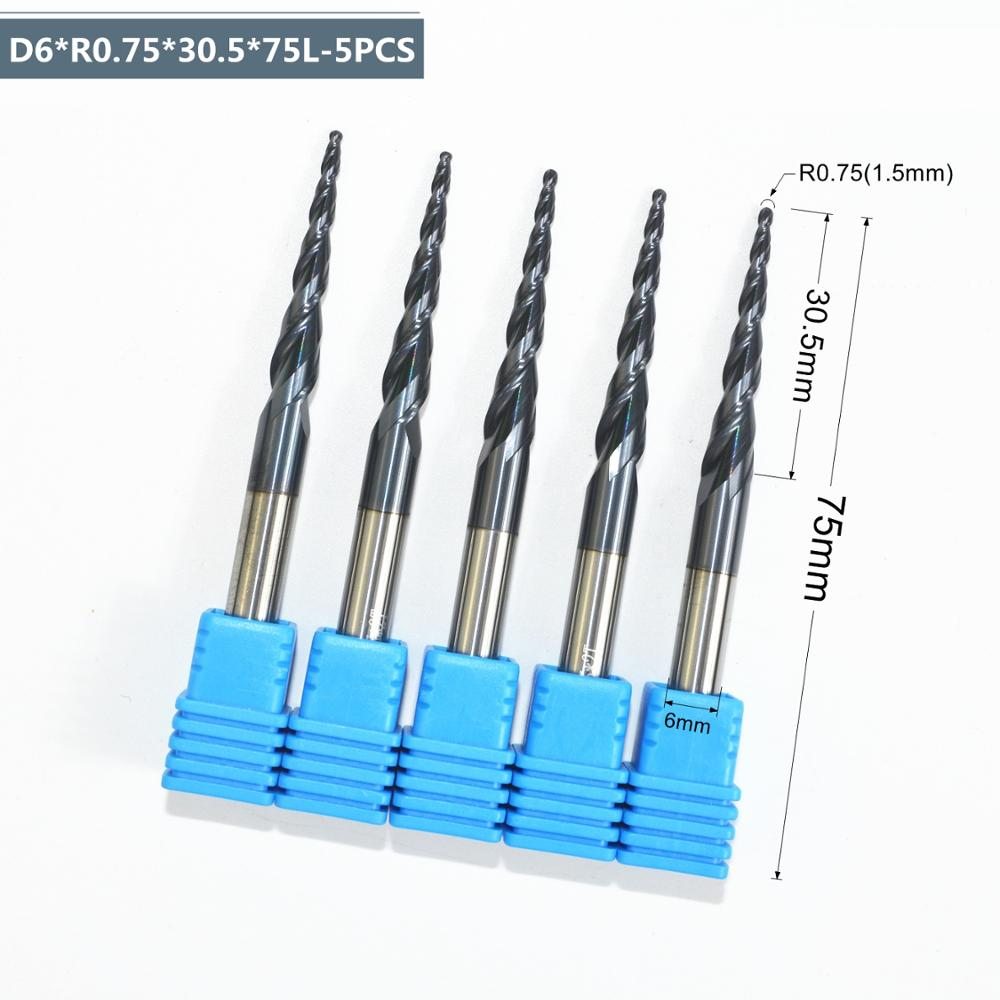 5PCS R0 75 D6 30 5 75L HRC55 solid carbide TiALN Coated Taper Ball Nose End
