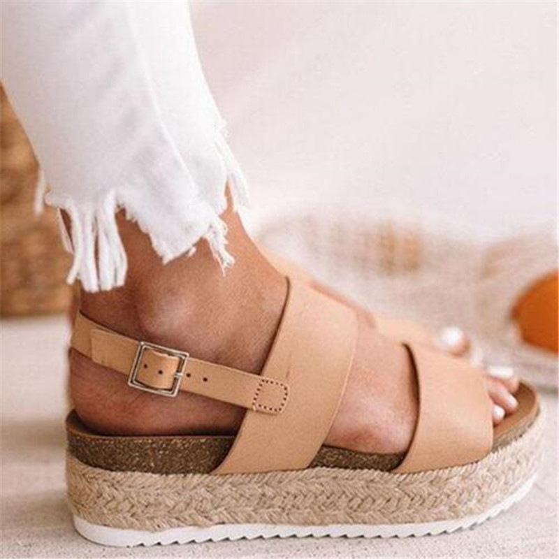 2019 summer women shoes wedge Ankle Strap platform women's sandals #QJB-851