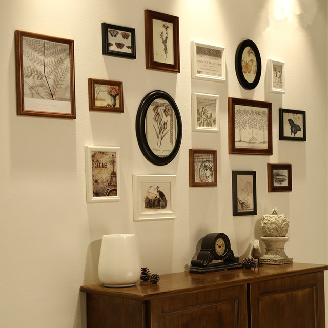 wall frames for living room window treatments 16 pieces set vintage wooden photo family picture frame sets hanging home decoration