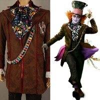 Джонни Депп, как безумный Шляпник наряд Алиса в стране чудес куртка Брюки для девочек галстук Хэллоуин Косплэй костюм для взрослых Для мужч