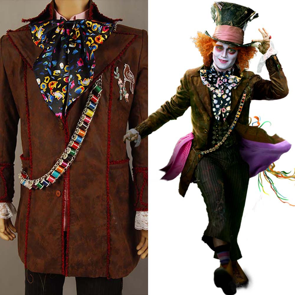 Johnny Depp as Mad Hatter Outfit Alice In Wonderland Jacket Pants Tie Halloween Cosplay Costume For Adult Men