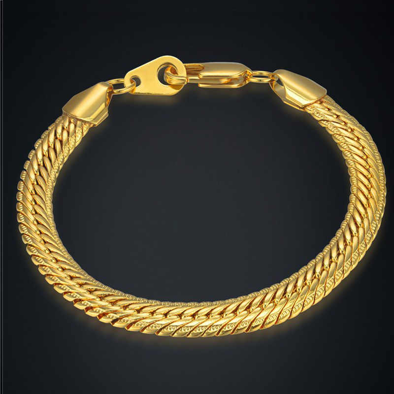 Bracelet Jewelry Wholesale Braslet For Man Vintage 8MM Silver/Gold Color Snake Chain Link Bracelets For Women/Men Gift