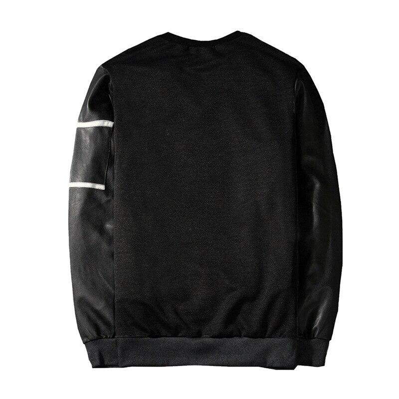 Men's Round neck collar PU sleeves long sleeve coat tops hoodie sweatshirt hooded men casual 3colour