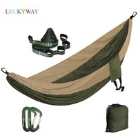 Portable Nylon Parachute Hammock Camping Garden Hamac Travel Double Person Hamak with Hammock strap and 7075Aluminum carabiners