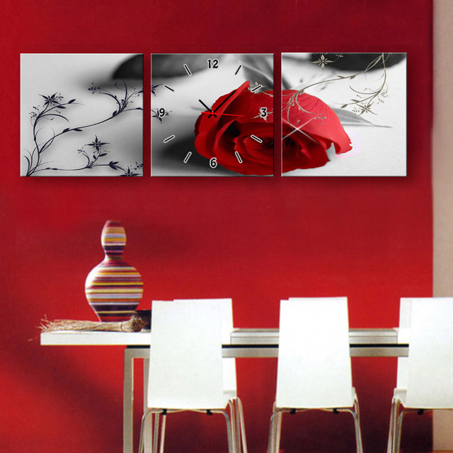 Free Shipping Art Print A Red Rose Clock in Canvas 3pcs wall clock