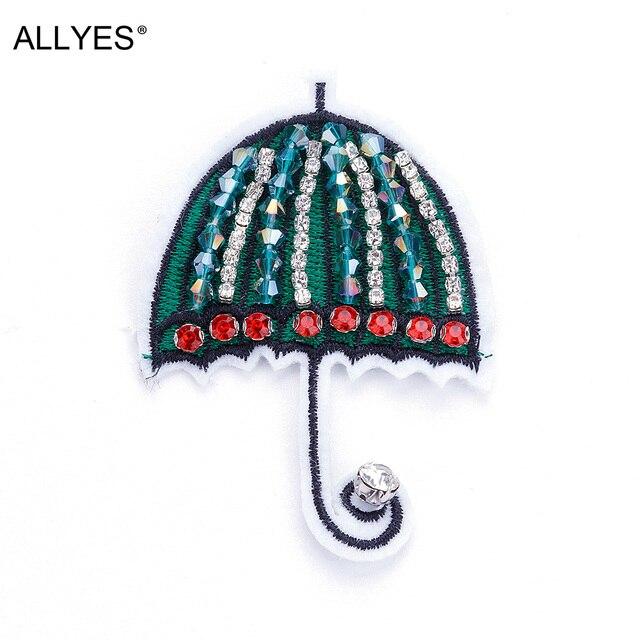 Allyes большой Броши для Для женщин бижутерия Вышивка зеленый зонтик в форме акрил Бусины кристалл брошь с лацканами Булавки