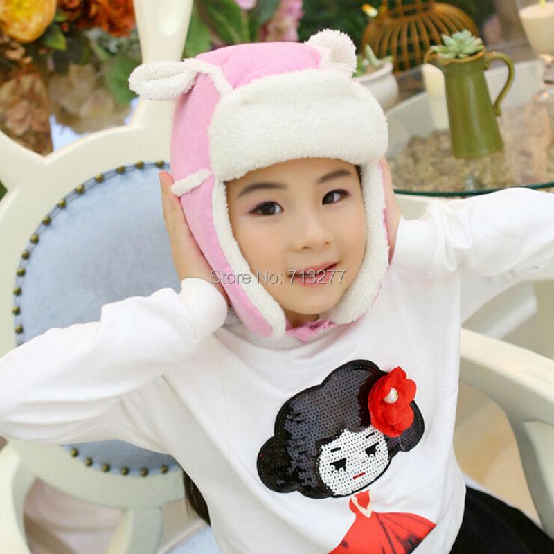 Russian Hat Aviator-Cap Bomber-Hats Earflap Winter Cute Kid Fashion Warm Child Solid