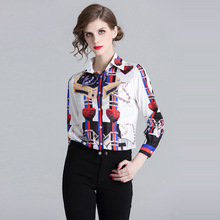 ARiby blusas mujer de moda 2019 New Blouse Women Shirts Elegant Office Lady Printed Casual Long Sleeves Slimming Blouses