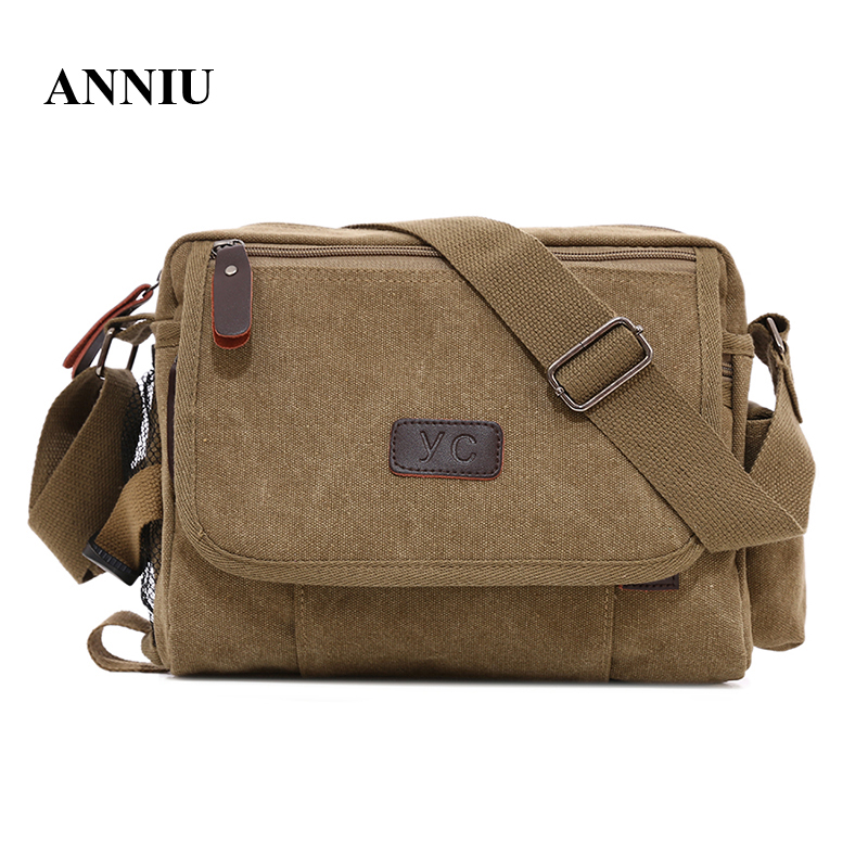 ANNIU New vintage men canvas oblique satchel bags men casual travel messenger bag shoulder crossbody bag high quality стоимость