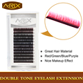 Fashion Style 1 tray Double Tone Eyelash Extension 5 colors 0.15*C 10/12mm Super Silk Soft False Mink Hair Colorful Eye Lash