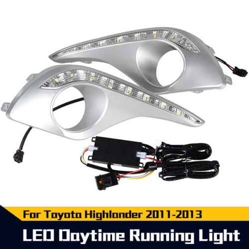 free shipping LED Daytime Running Light For Toyota Highlander Lamp DRL 2011 2012 2013 daytime running light for toyota highlander 2011 2012 2013 with amber turn signals light