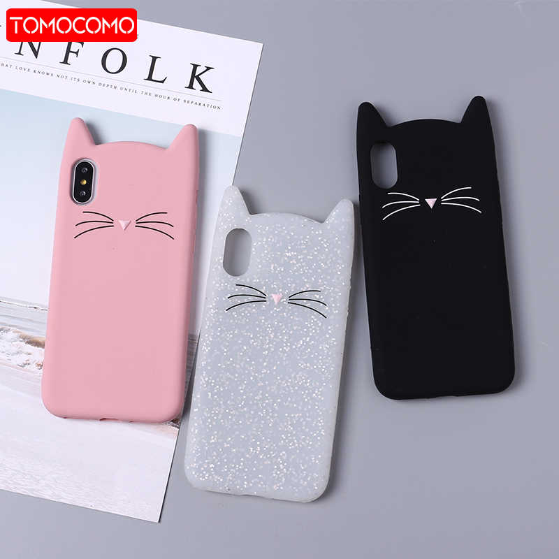 TOMOCOMO Cute 3D Silicone Cartoon Cat Pink Black Soft Phone Case Cover Coque Fundas For iPhone 7 7Plus 6 6S 5S SE X  XS Max