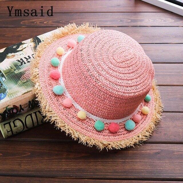 2018 Criança Estilo bola de cor bowknot Chapéus de sol de Verão chapéu de  Sol da 282d42a989f