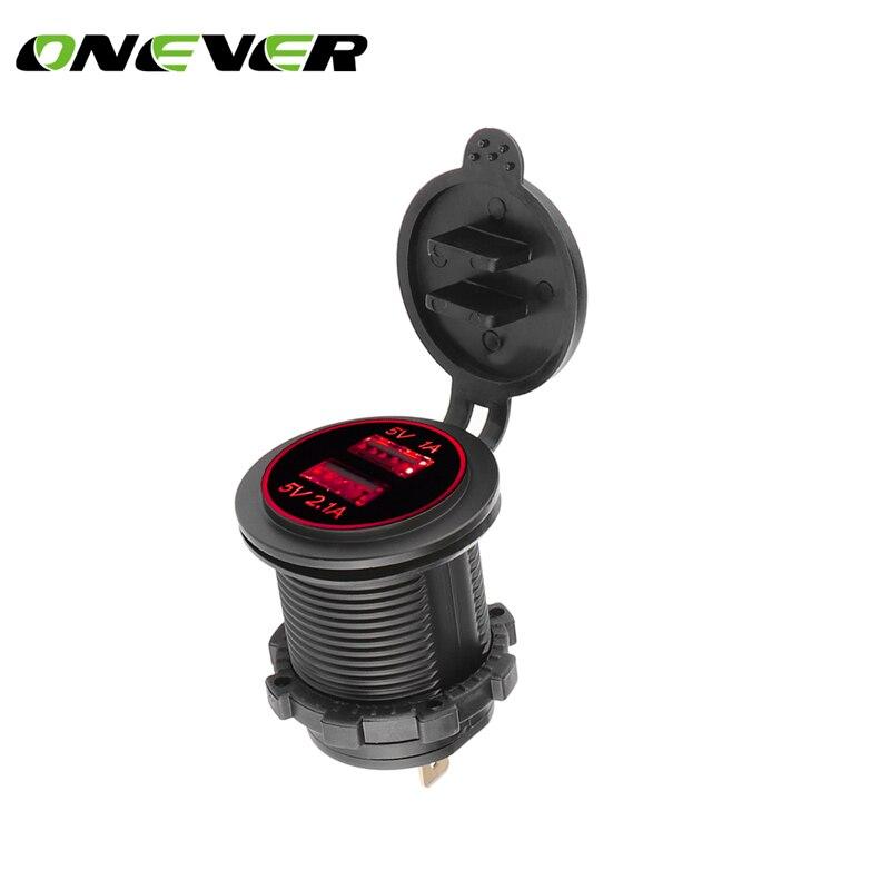 Onever Universal Cigarette Lighter Car Charger USB Vehicle DC12V-32V Waterproof Dual USB Charger 2 Port Power Socket 5V 2.1A/1A camera lens