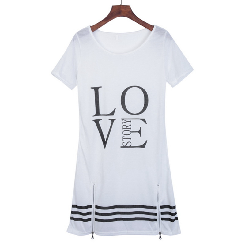Laamei Summer O-Neck Long T-Shirt Dress Women Letter Print Dresses Short Sleeve Casual Loose Streetwear Sundress Plus Size S-5XL