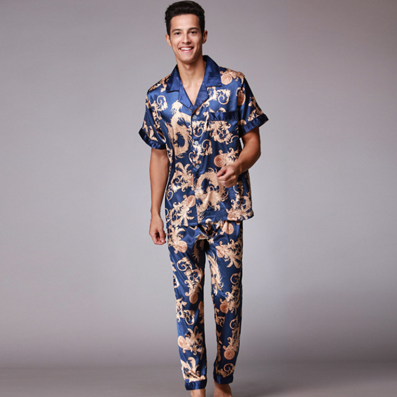 SSH021 Autumn Summer Loungewear Short Sleeves Long Pants Pajama Set Men Printed Satin Silk Pyjamas Male Pajamas Pijama Sleepwear