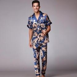 SSH021 осень лето Loungewear Короткие рукава длинные брюки пижамный комплект для мужчин с принтом атласные шелковые пижамы мужские пижамы Pijama Sleepwear