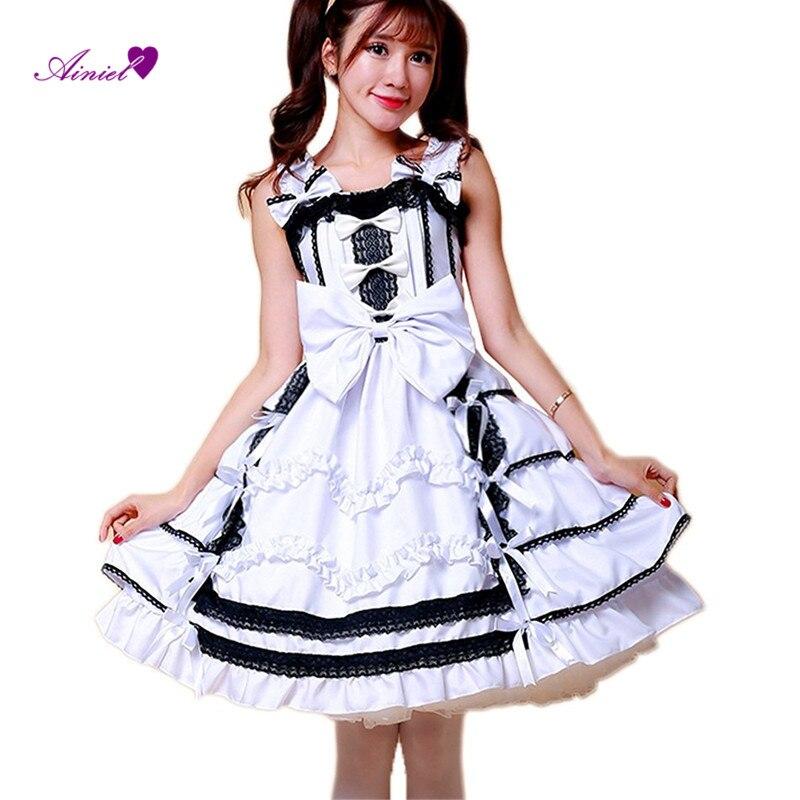 Ainiel Lovelive!! Yazawa Nico Cosplay Costume White Ball Gown Maid Dress Gothic Lolita School Students Dresses