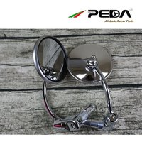PEDA 2018 Cafe racer parts vintage mirror Round stainless steel motorcycle vintage sideview rear view mirror set