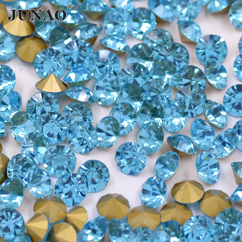 ss20 Aquamarine Point Glass Rhinestones Round Strass Chaton Nail Art Crystal Stones Jewelry Crafts Clothing Dress Decoration