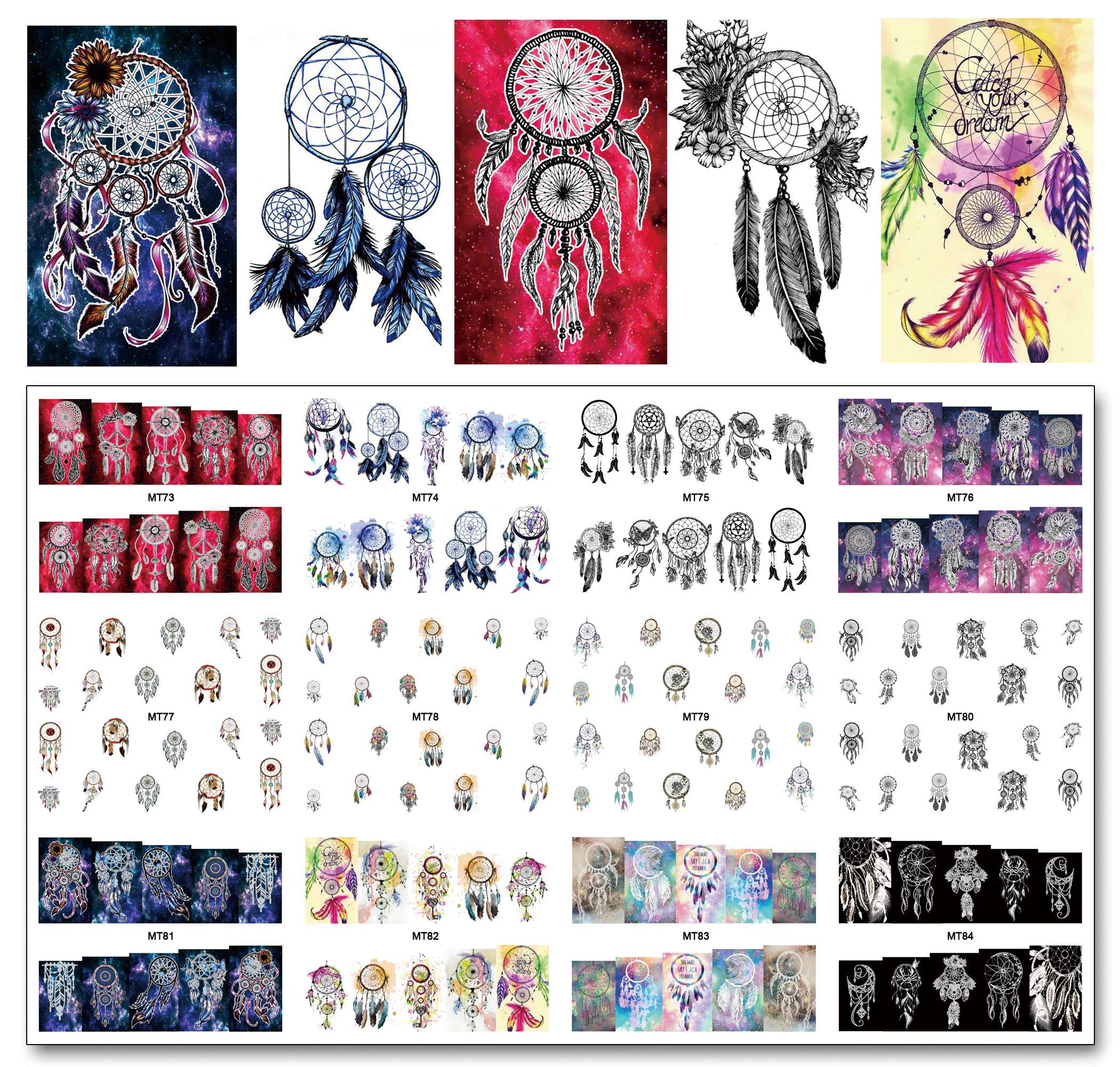 Nail 12 Sheets/Lot MT73-84 Colorful Dream Catcher Nail Art Water Decal Sticker For Nail Art Tattoo Decoration(12 DESIGNS IN 1) 4 packs lot full cover white french smile lace tattoos sticker water decal nail art d363 366w