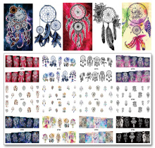 Nail 12 Sheets / Lot MT73-84 Farverig Dream Catcher Nail Art Water Decal Klistermærke Til Nail Art Tattoo Decoration (12 DESIGN IN 1)