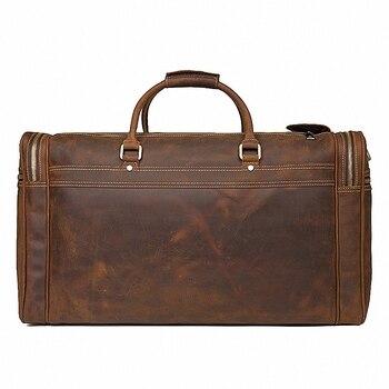 Big Capacity Genuine Leather Travel Bag Durable Crazy Horse Leather Travel Duffle Real Leather Large Shoulder Weekend Bag LI2084 1