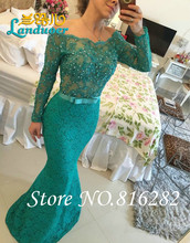 Lange Mermaid Scoop Long Sleeve Bodenlangen Perlen Spitze Abendkleid 2016 Prom Abendkleider Reizvolle Backless Vestido De festa
