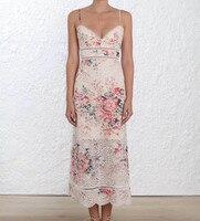 Для женщин Spaghettie ремни Луг цветочный Милая декольте Laelia цветочным принтом Хлопковое платье изысканную Laelia платье