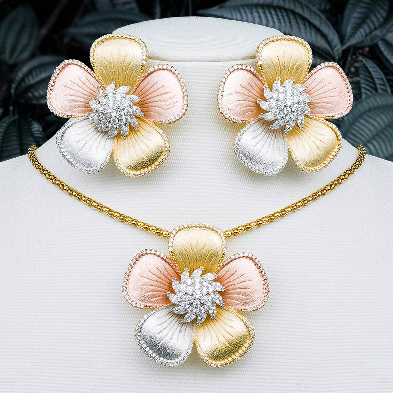 ModemAngel High Quality Luxury Flower Pendant Necklace And Earring Set For Women Wedding Gift 3 Tone