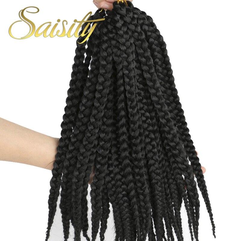 Saisity Crotchet Box Braids Hair Extensions Ombre Black Bug Colors Synthetic Braiding Hair Crochet Braids Bulk 14inches