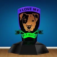 I Love My Pitbull 3D Line Lamp LED Night Lamp Pit Bull Dog Breed Designed Lamp Novelty Light Puppy Table Lamp Dog Lovers Gift